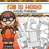 Fall Activities and Printables Packet Preschool Distance Learning 91 pgs No-Prep