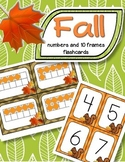 Fall Counting and Matching Numerals and 10-Frames Flashcards 0-20 Numbers