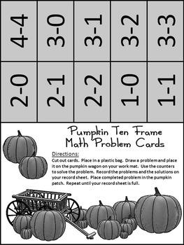 Fall Activities: Pumpkin Fall Ten Frames Math Center Activity