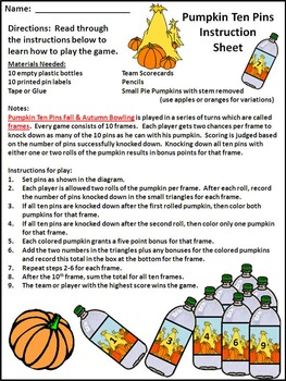 Fall Activities: Pumpkin Ten Pins Bowling Game