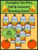 Fall Activities: Pumpkin Ten Pins Bowling Math Game Activity  - Color Version