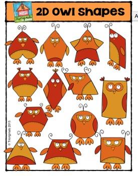 Fall 2D Owl Shapes {P4 Clips Trioriginals Digital Clip Art}
