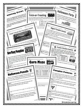 Halloween 2nd Grade Common Core Math Assessment Tasks