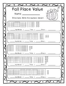 Fall 3-Digit Place Value Pack with Base Ten Blocks Freebie (2.NBT.A.1,2.NBT.A.3)