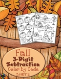 Fall 3-Digit Subtraction with Regrouping Color-by-Code Printables