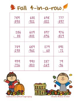 Fall 4-in-a-Row Subtraction