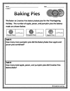 Fall 4th Grade Common Core Math Assessment Task