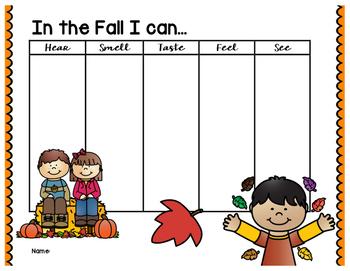 Fall 5 Senses Graphic Organizer