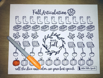 Fall 50 Trial Articulation Sheet | Farmhouse Style for Speech Therapy | Autumn