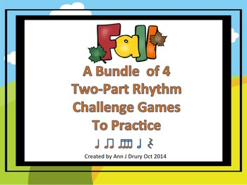 Fall - A Bundle of 4 Two-Part Rhythm Challenge Games