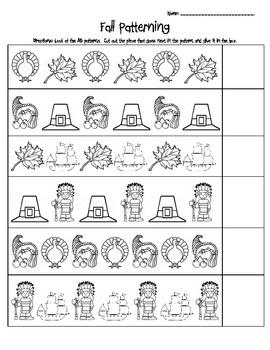 fall ab patterning worksheet by christina cox teachers pay teachers. Black Bedroom Furniture Sets. Home Design Ideas