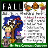 Fall ABC Order Cut & Paste Worksheets- Alphabetical Order No Prep Printables