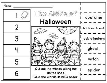fall abc order cut paste worksheets alphabetical order no prep printables