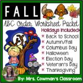 Fall ABC Order Cut & Paste Worksheets- Alphabetical Order No Prep Printables