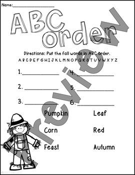 Fall ABC Order FREEBIE!