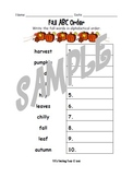 Fall ABC Order Worksheet