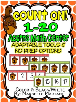 FALL KINDERGARTEN ACTIVITIES- ACORNS COUNT ON! NUMBER SEQUENCE MATH CENTER