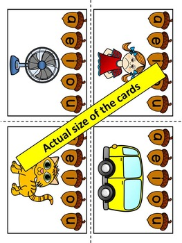 Middle Sounds Fall Center Activity- Pin the correct vowel- Acorns theme