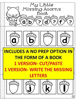 Fall LITERACY CENTER ACTIVITY- fill in the missing letters (acorns theme)