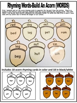 RHYMING ACTIVITIES- ACORN RHYMING PUZZLES- BUILD AN ACORN CENTER (FALL)
