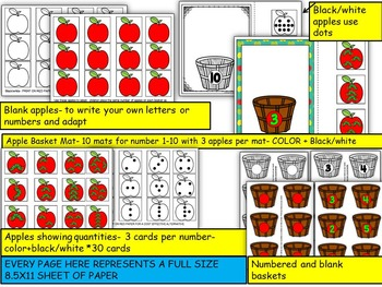 APPLES math center activity-Count & Match Game- Color + Black and white