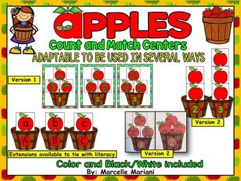APPLES math center activity-Count & Match Game- Color + Bl