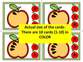 Fall- APPLES, Count & Pin Math Center Game- Color + Black and white