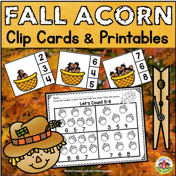 Fall Acorn Counting Clip Cards and Printables 0-10
