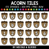 Fall Acorn Letter and Number Tiles Clipart