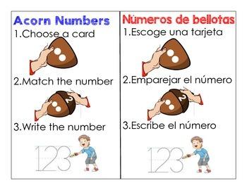 Fall Acorn Number Game, Dual Language