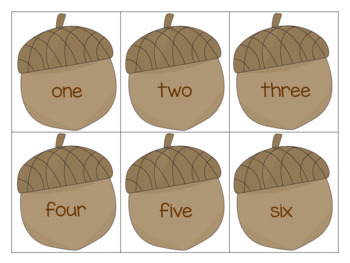 Fall Acorn Numbers to 20
