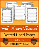 Fall - Acorn Themed Dotted Line Paper (FREE)