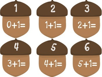 Fall Acorns Facts to 10 Math Center