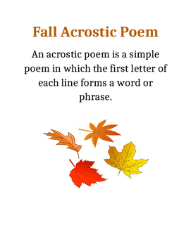 Fall Acrostic Poem Collection