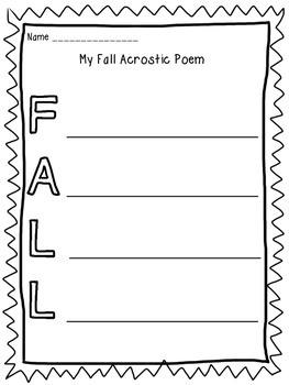 Fall Acrostic Poem - FREEBIE!