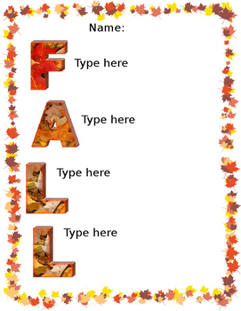 Fall Acrostic Poem Template- Microsoft Word