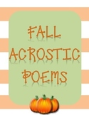 Fall Acrostic Poems with Coordinating Pictures to Color