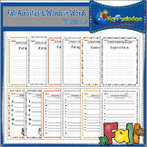 Fall Acrostics and Words in Words Worksheets