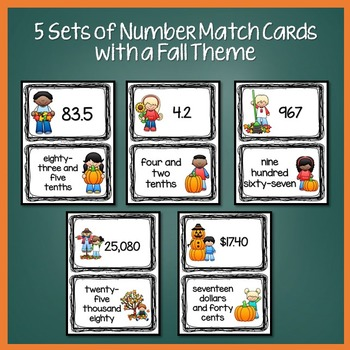 Fall Math Activities (Number Match Cards)