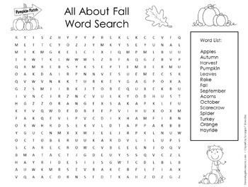 Fall Activity | Fall Word Search