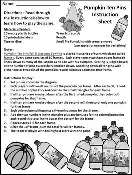 Fall Math Activities: Pumpkin Ten Pins Bowling Math Game Activity - B/W Version