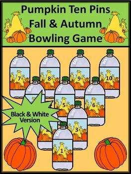 Fall Math Activities: Pumpkin Ten Pins Bowling Game