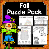 Fall Activities - Math & Literacy Puzzles | Early Finishers