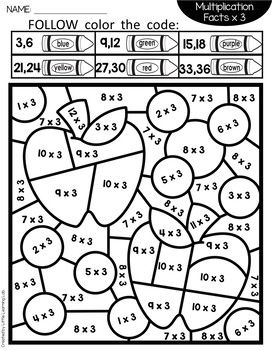 Fall Activities Color By Code Multiplication Facts