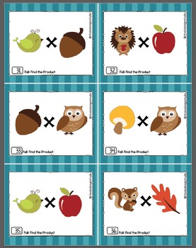 Fall Multiplication Activities Math Task Cards