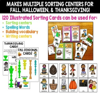Singular and Plural Nouns Picture Card Sorts and Worksheets FALL THEME SET