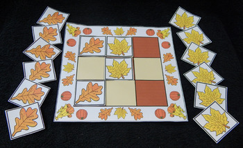 Fall Activities: Maple & Oak Leaves Tic-Tac-Toe Fall-Thanksgiving Game - Color