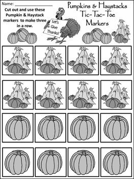 Fall Activities:Pumpkins & Haystacks Fall-Thanksgiving Tic-Tac-Toe Game Activity