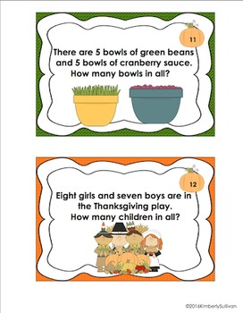 Thanksgiving Math Activities 25 Task Cards Word Problems Grade 1 Centers