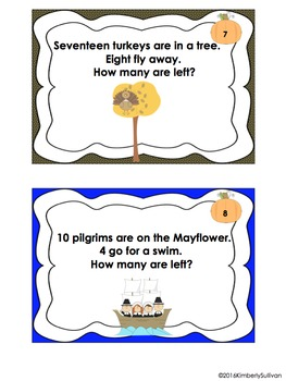 Fall Thanksgiving Math Activities 25 Task Cards Word Problems Grade 1 Centers